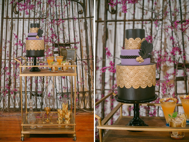 gold black purple wedding cake