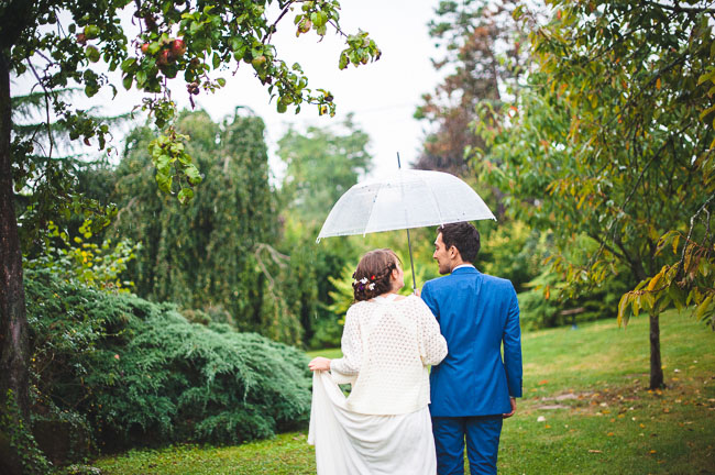 rainy french wedding