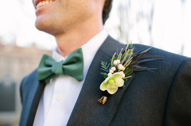 boutonniere and green bow tie