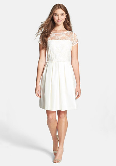 Taylor Dresses Lace Bodice Shantung Fit Amp Flare Dress