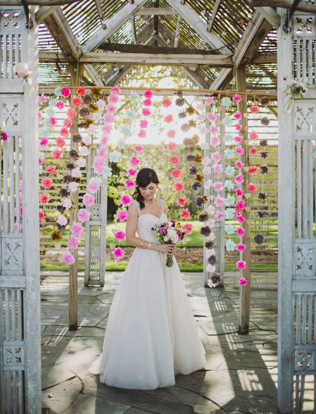 pom backdrop bride