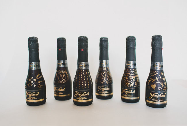 champagne bottles with designs
