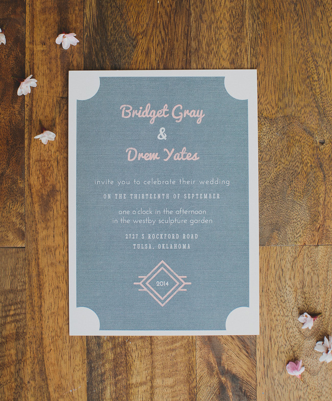 gray and pink invite