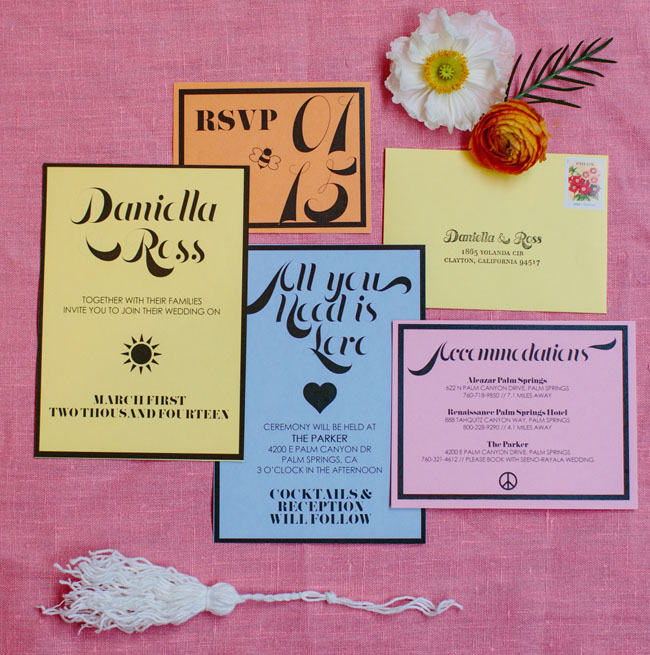 pastel and black invitation