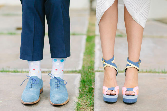 blue and pink shoes
