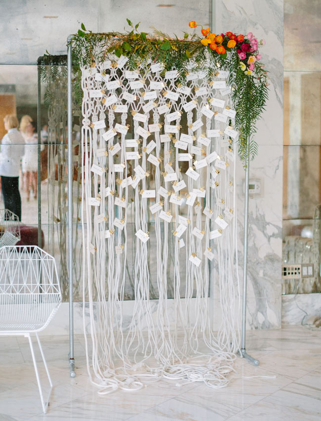 macrame escort card display
