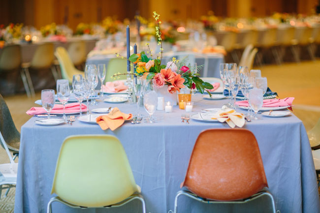 blue and pink reception table
