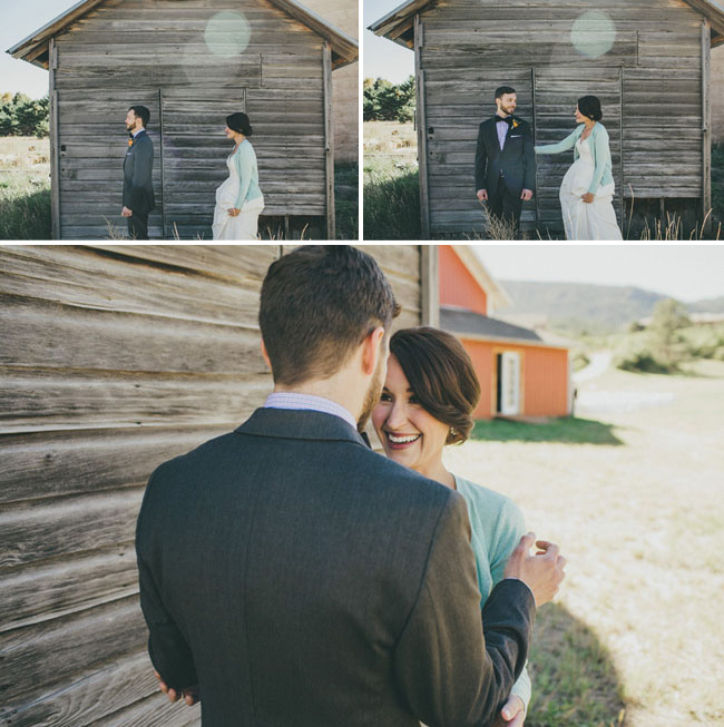first look barn wedding