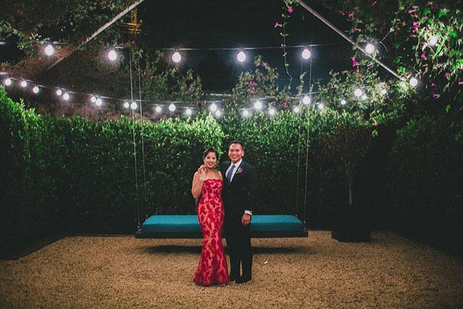 red reception dress