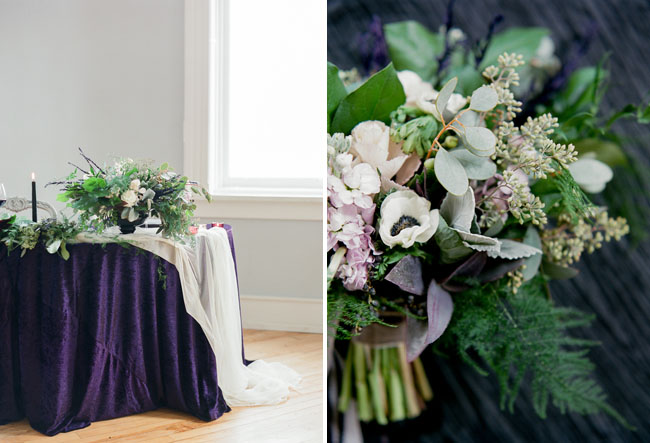 purple velvet tablecloth