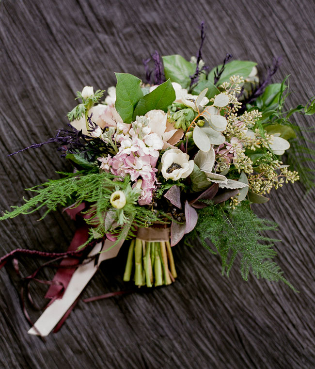 anemone and green bouquet