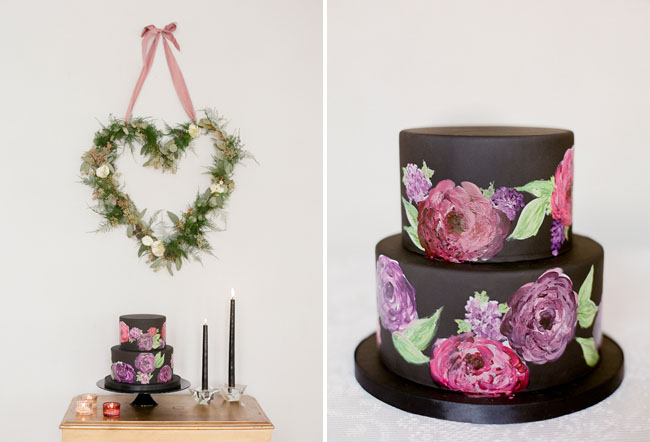 rose painted black cake