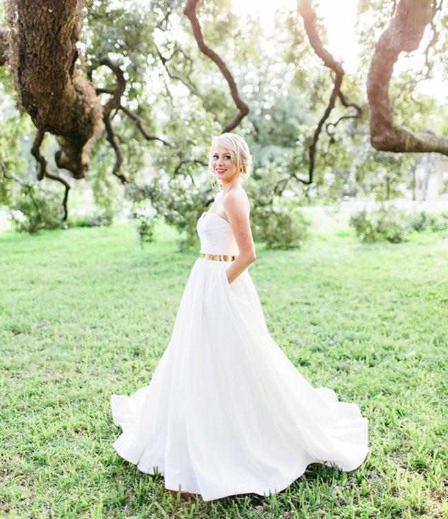 gold belted bride