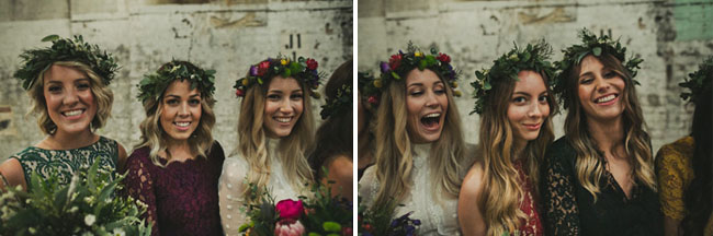 bridesmaids in crowns