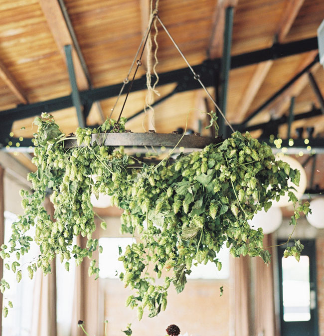 hanging chandelier of greens