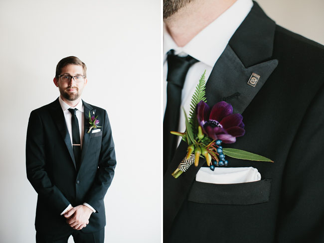 dark purple boutonniere