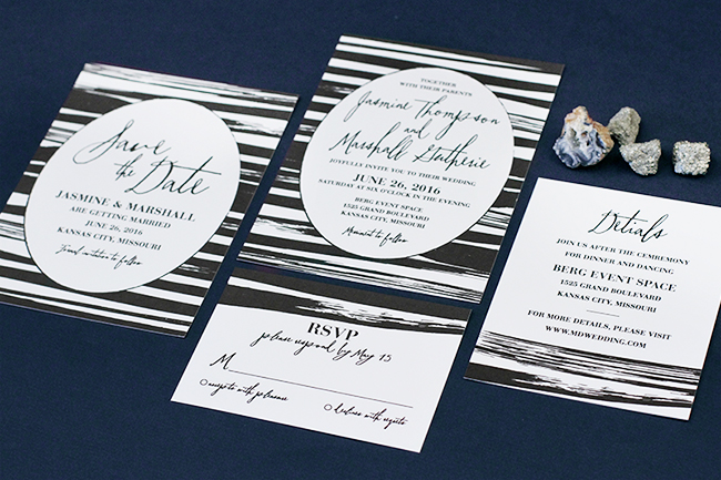 black stripes invitation