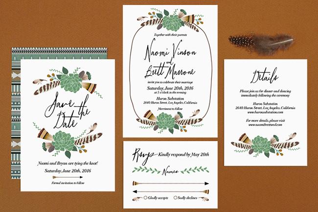 bohemian floral invitation