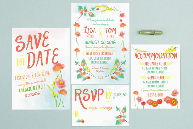 painted floral invitation