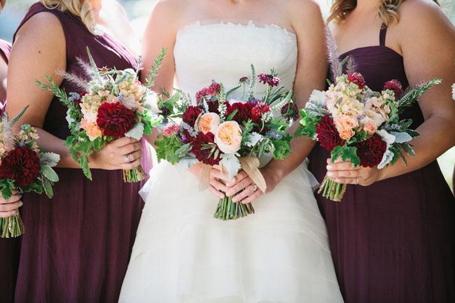 maroon bridesmaid bouquets