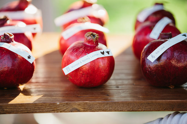 pomegranate escort cards
