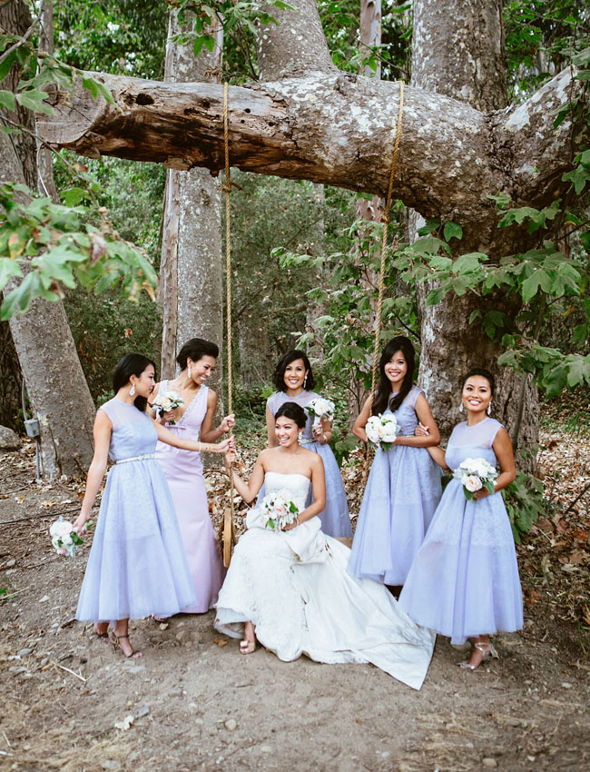 bridesmaids with swing
