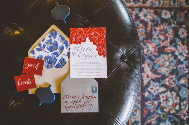 oxblood and cobalt invitation