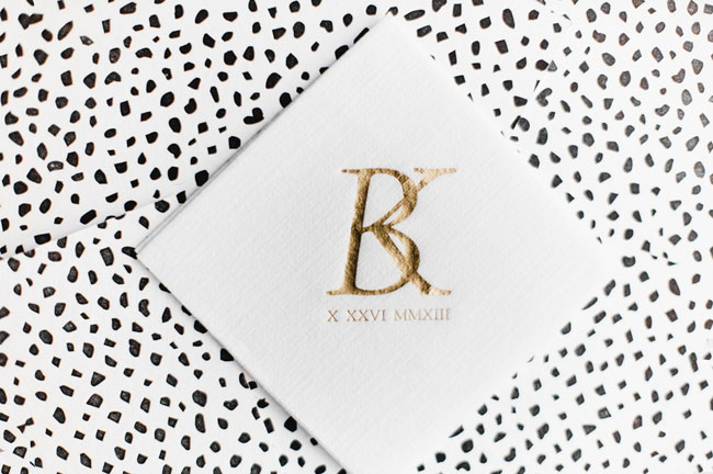 monogram bar napkins