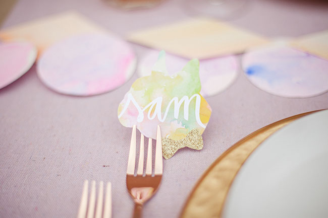 watercolor name tag