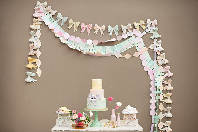 watercolor bows bunting