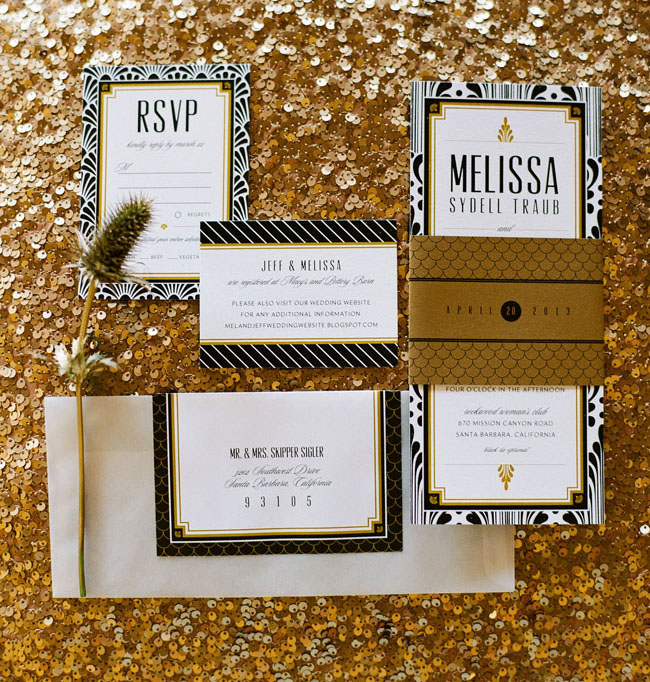 sparkly wedding invitation