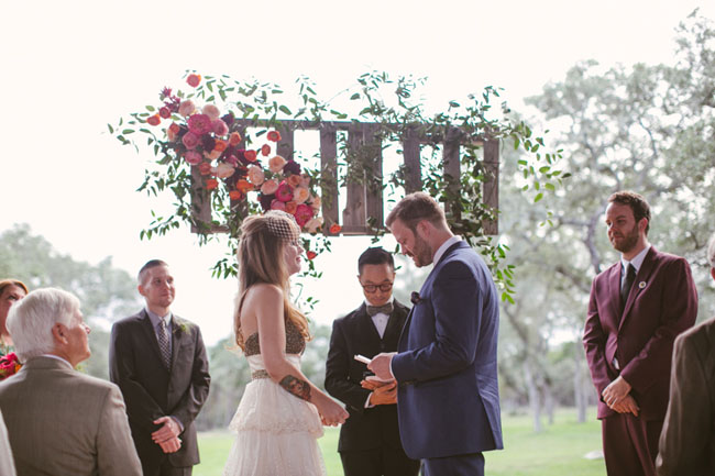wooden ceremony flower decor