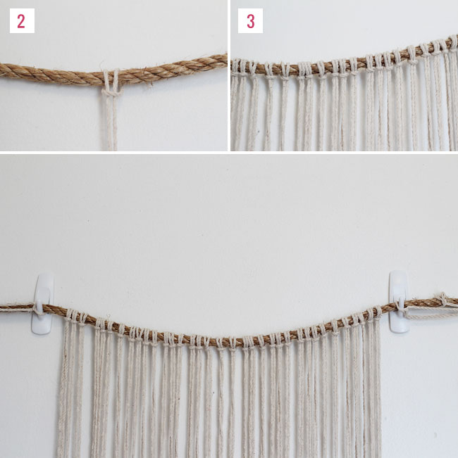 ... long twine. Fold one in half and loop it around the rope as shown
