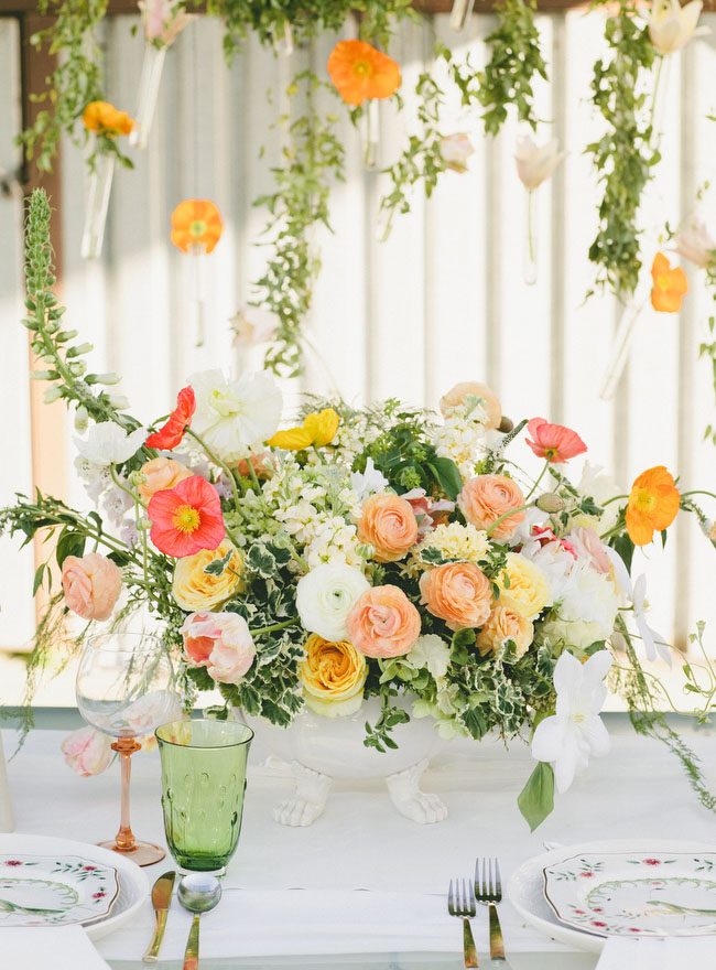 bright orange centerpiece