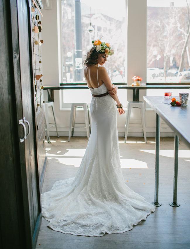 1970s inspired bride