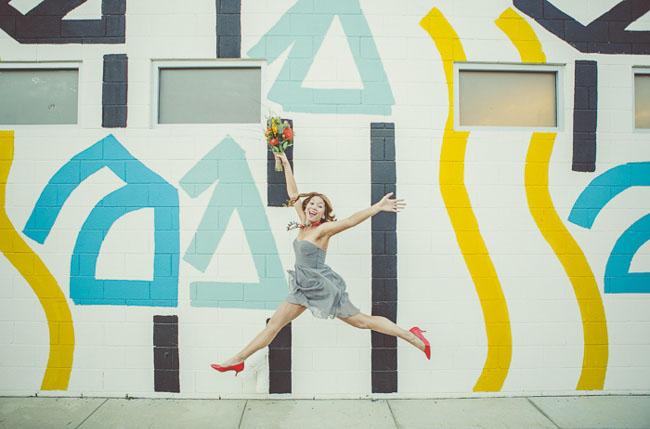 jumping bridesmaid