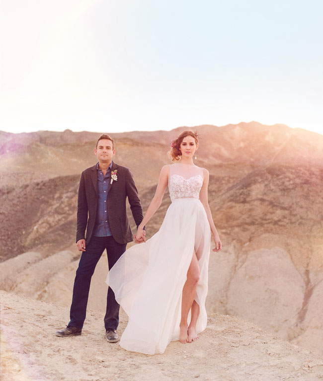 Bohemian Desert Elopement Inspiration Green Wedding