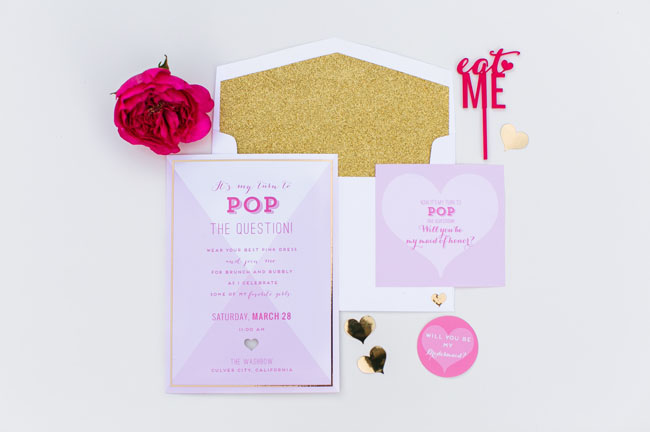 bridal shower pink and gold invitation