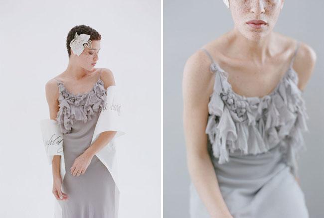 gray ruffle dress