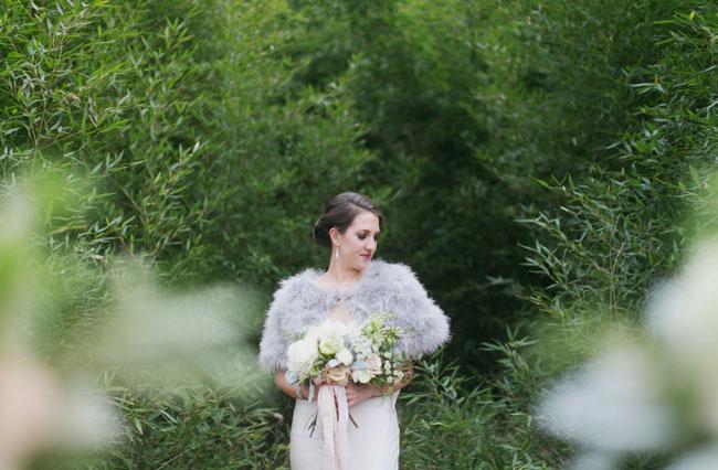 fur coat bride