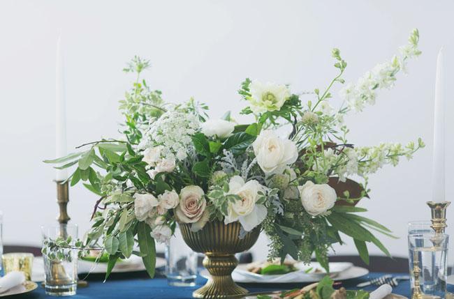 gold vase centerpieces