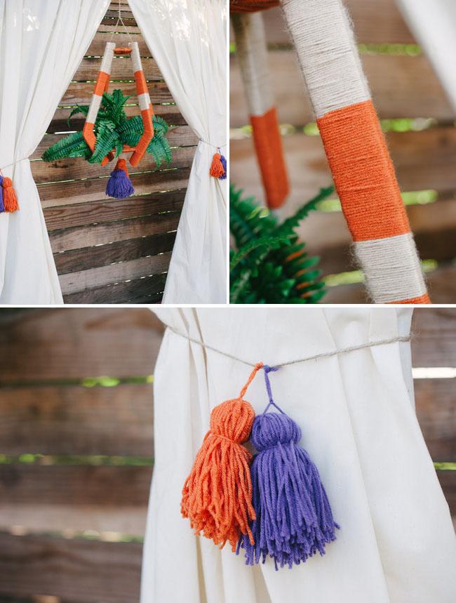 bohemian yarn lantern