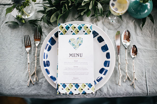 geometric heart menu