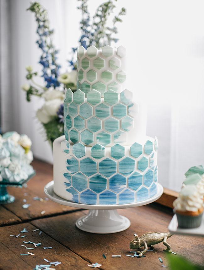 geometric blue cake