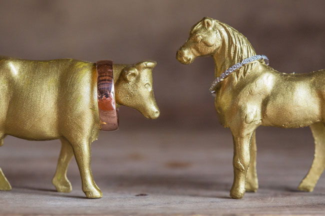 gold animals and rings