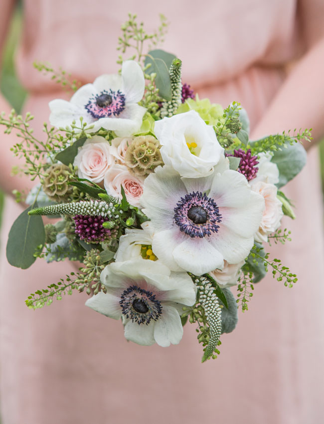 anemone and veronica bouquet