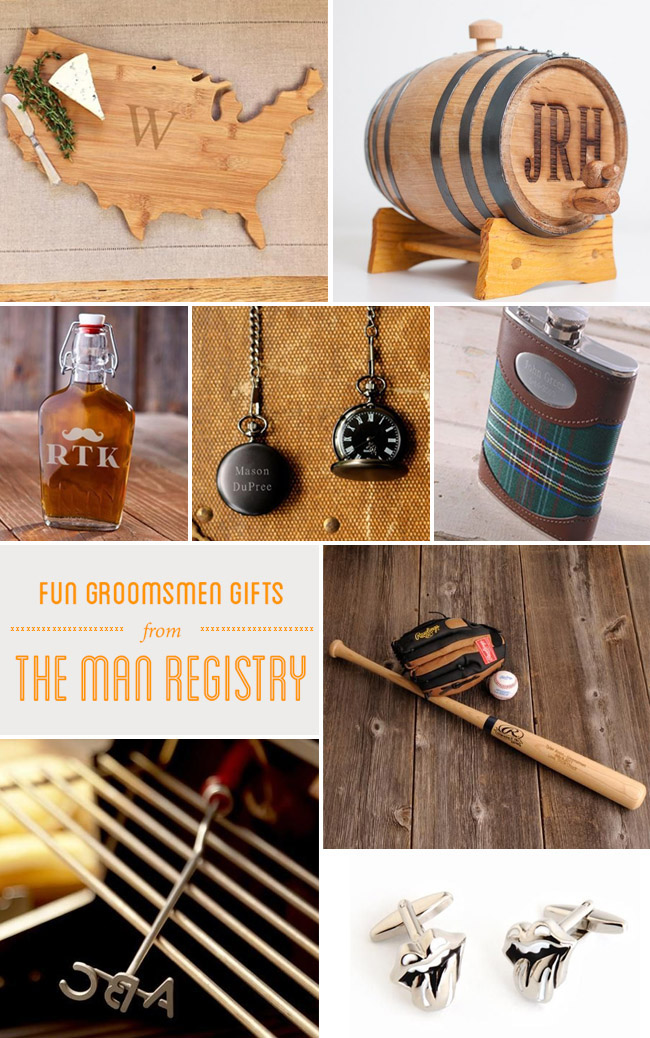 Fun groomsmen gifts from the man registry for Cool places to register for wedding