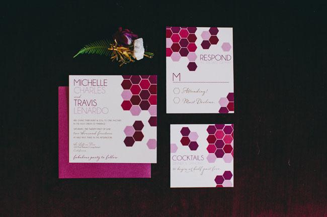 geometric orchid invitation