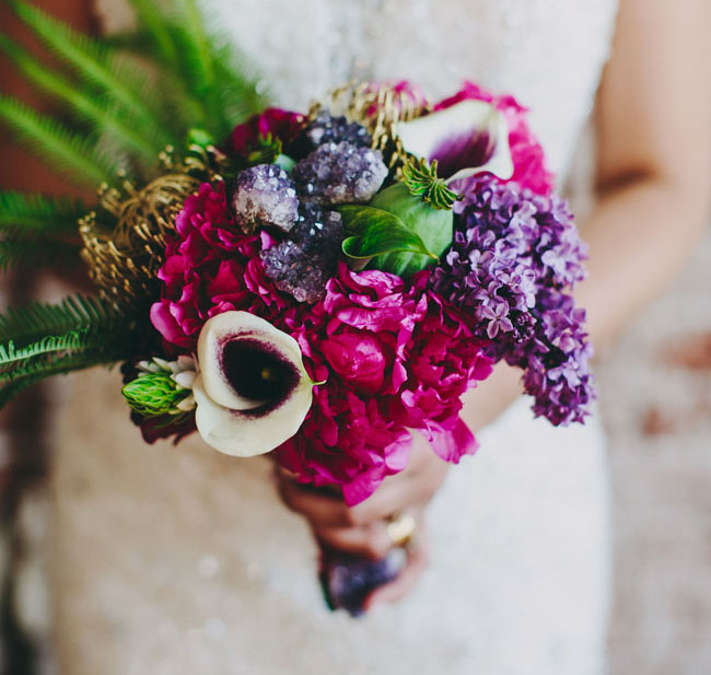 geode and orchid bouquet