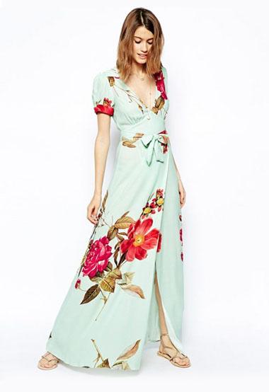 Wrap Maxi Dress In Rose Print Green Wedding Shoes